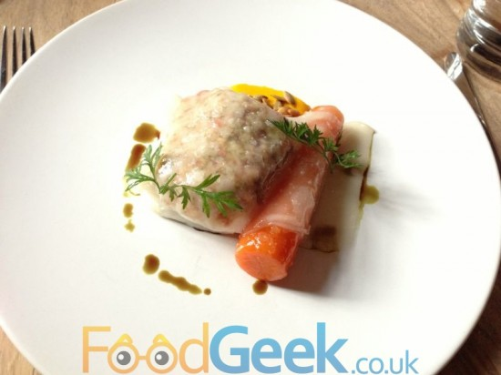 Lobster Baked Hake, Carrot, Pumpkin Seeds & Lardo