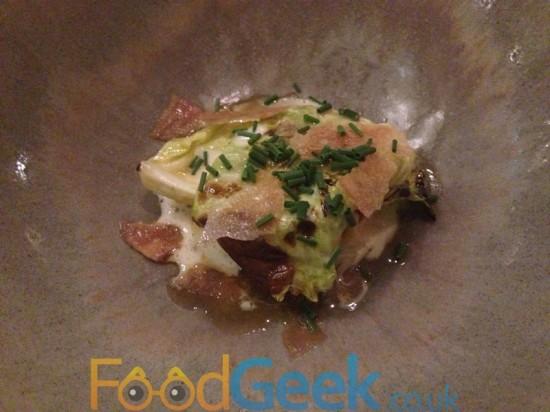 Crab, Cabbage, Horseradish, Chicken Skin & Crow Garlic,