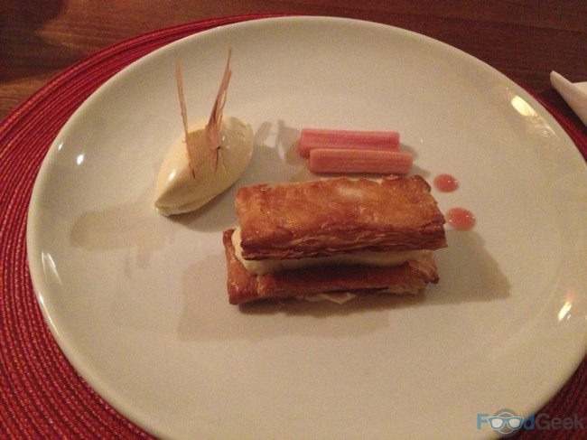 Champagne rhubarb, ginger & duck egg custard slice