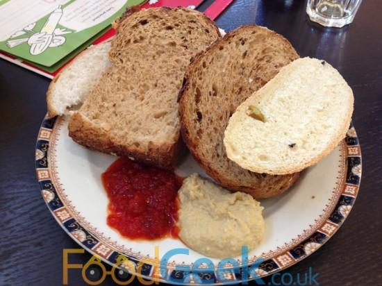 Homemade Breads, Chilli Gloop & Hummus