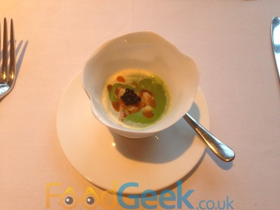 Chilled Courgette Soup & Lobster Caviar