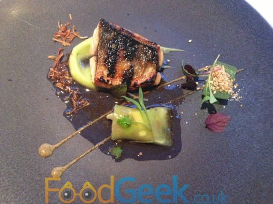 Flame Grilled Mackerel, Pickled Cucumber, Celtic Mustard & Shiso