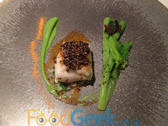 Roast Turbot, Broccoli Steam, Crab & Black Quinoa