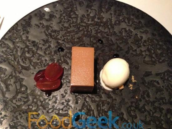 Brown Sugar Tart, Poached Grapes & Stem Ginger Ice Cream