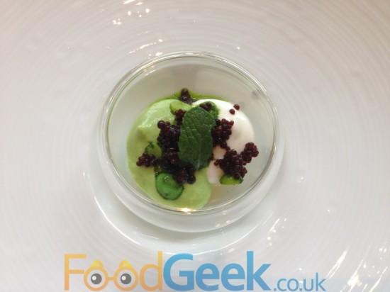 Amuse Bouche: Pea, Mint, Goats Curd & Caviar