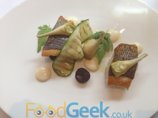 Fillet of Wild Sea Bream, Marinated Violet Potatoes & Baby Artichokes