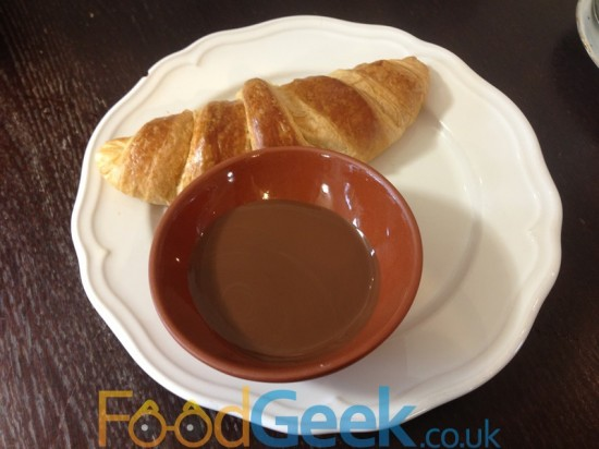 Dipping Croissant with Hot Chocolate