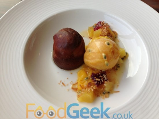 Rum Baba, Mango Carpaccio & Passion Fruit Sorbet