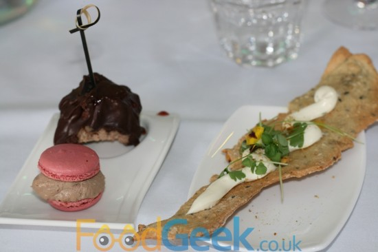 Chicken Liver Macaroon, Lamb Lollypop, Cream Cheese Cracker