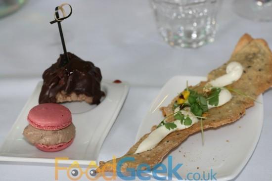 Chicken Liver Macaroon, Lamb Lollypop, Cream Cheese Cracker