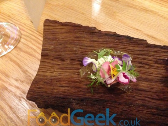 Celery glass, fresh cheese, flowers & herbs