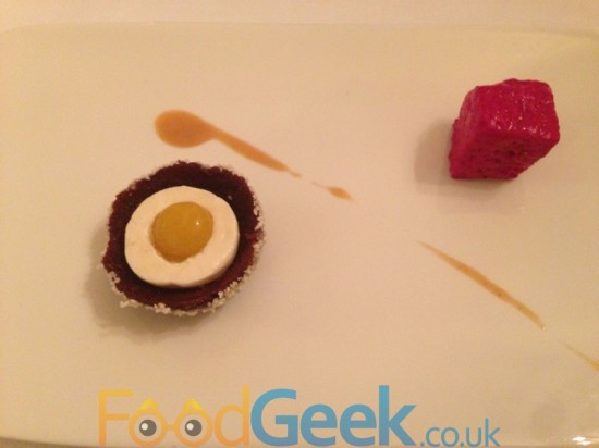 Beetroot & Chocolate Cake, Bee Pollen, Hazlenut, Milk & Honey