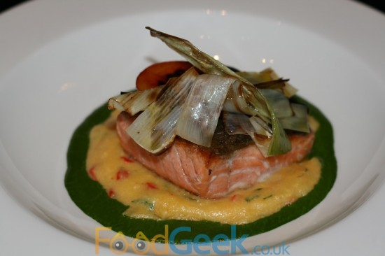 Chipotle polenta, hot smoked salmon, leeks and parsley coulis