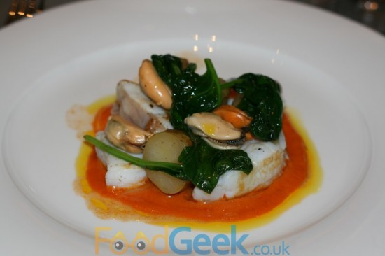 Mussel, monkfish and potato romesco