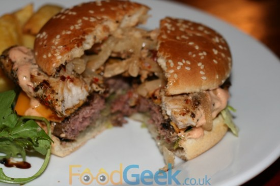 Peri Peri Chicken Topped Cheeseburger Inside