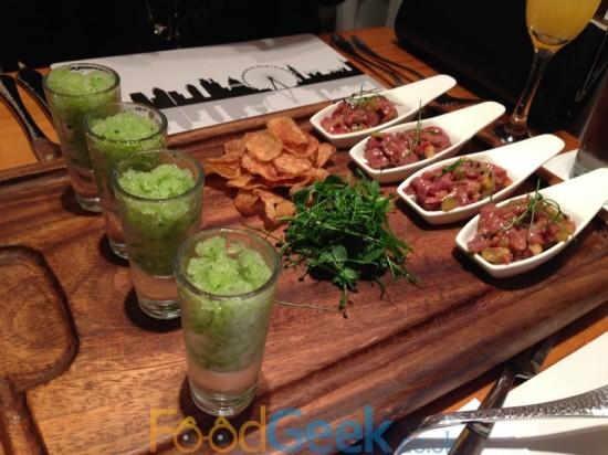 Venison Tartare, Homemade Crisps, Celery & Cucumber Granita