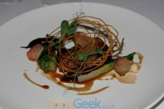 Pigeon, Lettuce, Potato Crisp, Celeriac & Pickled Mushroom