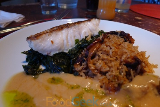 Roast Cod, Sweet Onion Pilaf