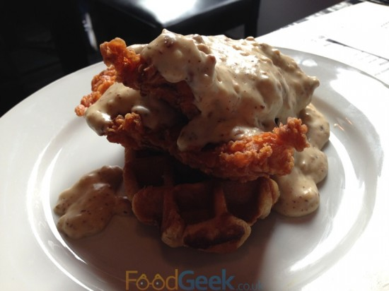 Waffles, Buttermilk Fried Chicken & Sausage Gravy