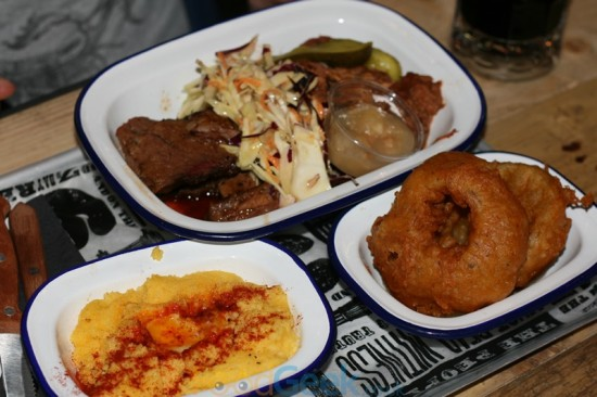 Brisket, Pulled Pork, Grits & Onion Rings