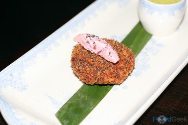 Beetroot Shikampuri Kebab, Kasundi Chutney