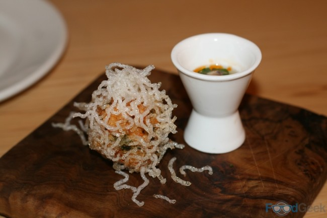 Deep Fried Prawn Ball With Abalone & Chilli Vinaigrette