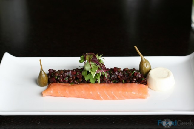 Smoked salmon, horseradish panna cotta, beetroot salad, caper berries