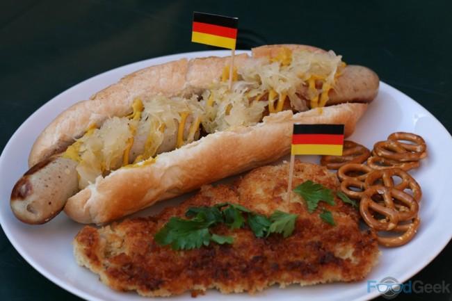 Bratwurst with Sauerkraut, Chicken Schnitzel & Pretzels