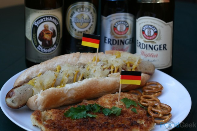 Bratwurst with Sauerkraut, Chicken Schnitzel, Pretzels & Beer