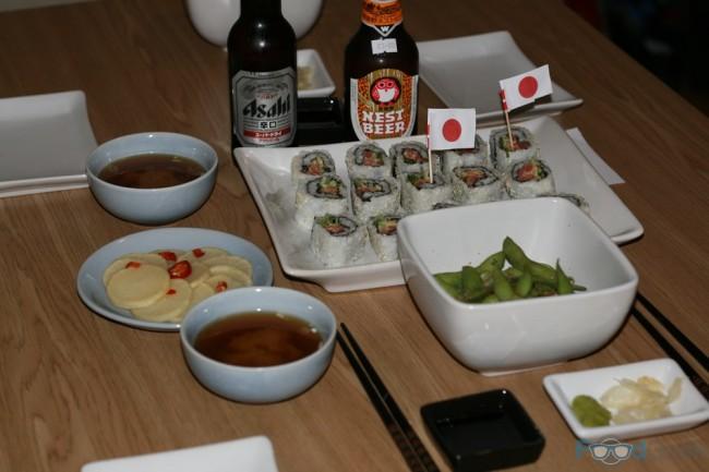 Sushi, Miso Soup, Edamame & Pickled Daikon.