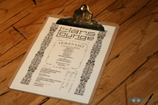 The Liars Lounge Menu