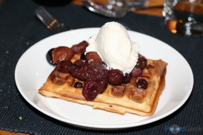 Waffles, Bourbon Ice Cream & Red Fruit