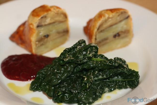 Aubergine & Potato Dauphinoise Wellington, Damson Chutney, Cavolo Nero
