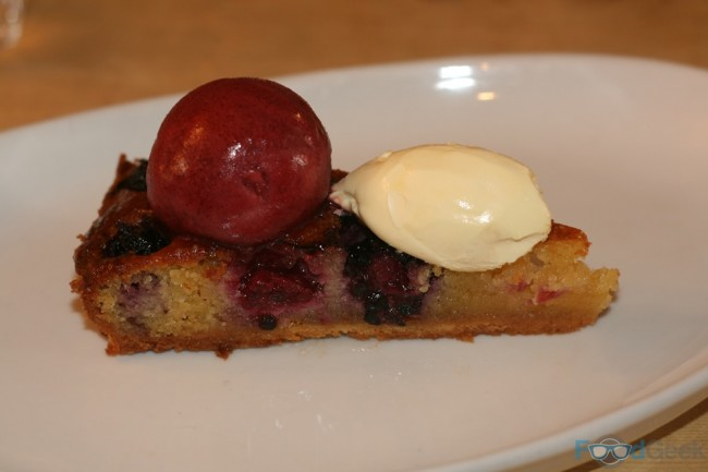Blackberry & Almond Tart, Cherry Sorbet