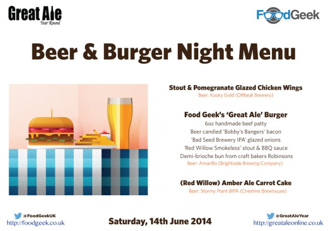 Beer & Burger Night Menu