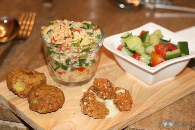 Mezze:  falafel, tabbouleh, israeli salad & fried olives