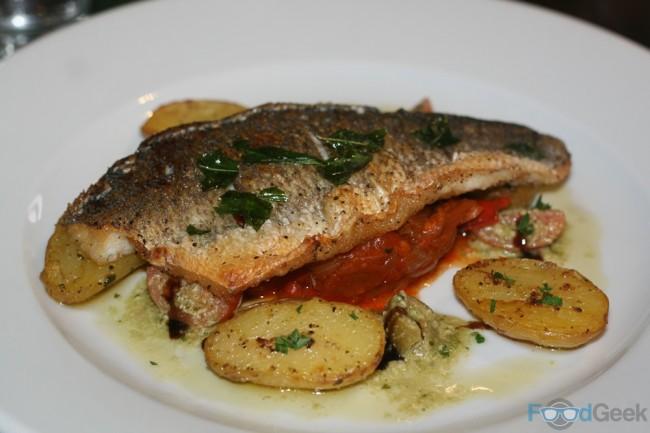 Sea bass with ratatouille & sautéed potatoes