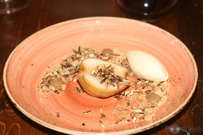 Poached Pear, White Chocolate Sorbet