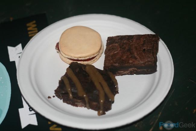 Raspberry Macaroon, Bacon & Salted Caramel Brownies