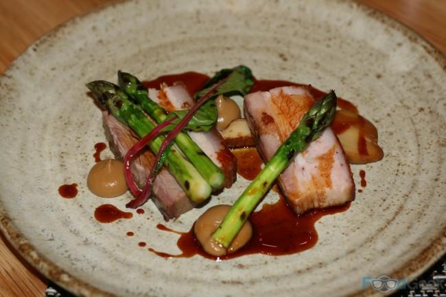 Cumbrian pork belly, barbecued asparagus, salt baked abalone, mulled cider sauce