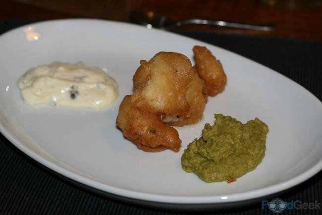 Deep Fried Cod Cheeks, Tartare Sauce & Peas