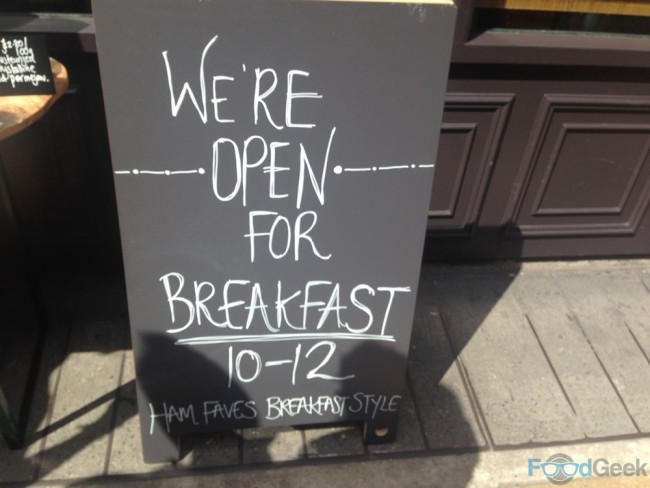 Friends of Ham, breakfast sign