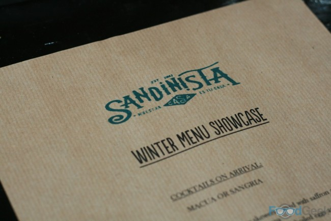 Sandinista Winter Menu