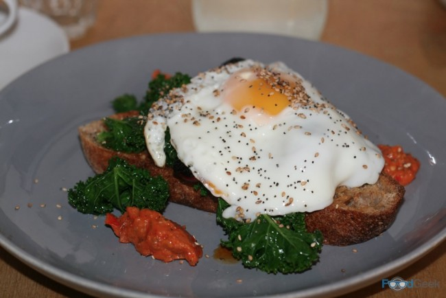 Fried Egg, Chorizo & Kale