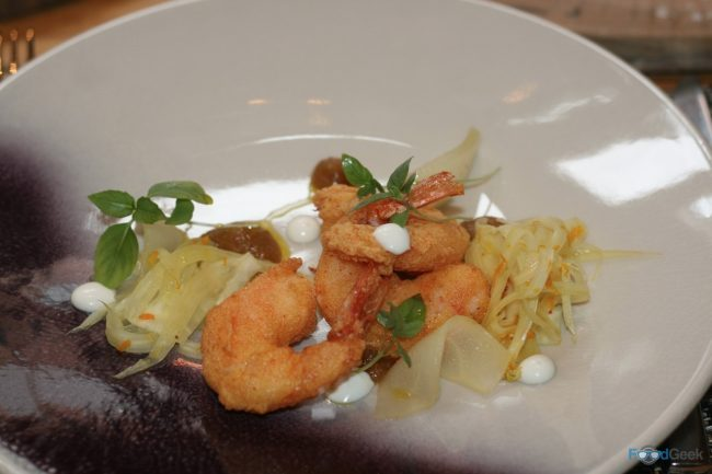 Buttermilk Fried Prawns & Kimchee Purée
